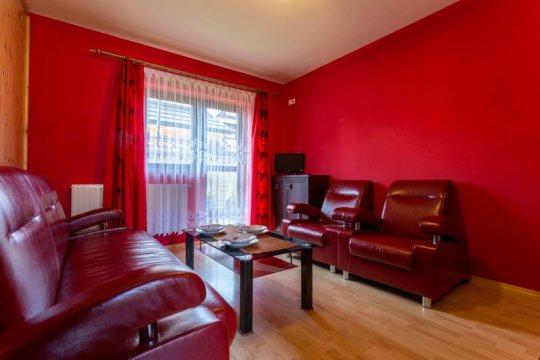 salon w apartamencie czerwonym