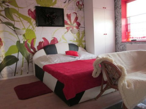 Apartament czerwony z aneksem kuchennym,lazienk,balkonem