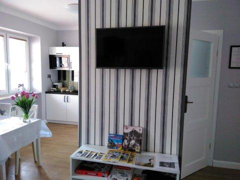 Telewizor, półka z grami planszowymi i książkami