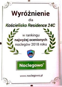 """KR24C Certyfikat Noclegowo.pl """"Najwyżej oceniany noclkeg 2018"""""""